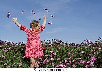 verão, flores, feliz, criança