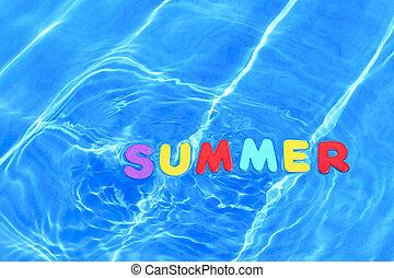 verão, flutuante, palavra, piscina, natação