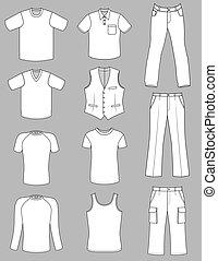 verão, homem, cobrança, roupas