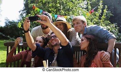 verão, jardim, selfie, partido, amigos, levando