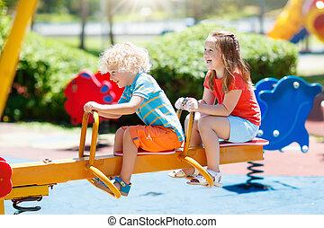 verão, jogo, crianças, park., playground., crianças