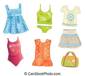 verão, jogo, meninas, roupas