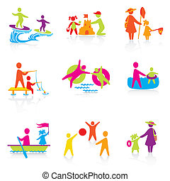 verão, jogo, silueta, pessoas, family., homem, ícones, -, menino, criança, pai, vector., tempo, mulher, mother., menina, criança