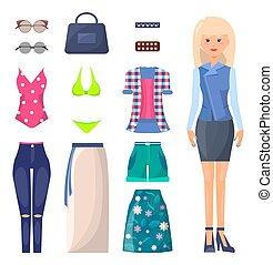 verão, mulher, casaco, jogo, saia, roupas