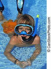 verão, natação, feliz, férias, snorkel, feriado, criança