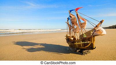verão, navio, praia, ensolarado, modelo