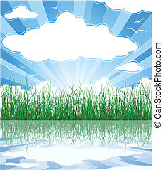 verão, nuvens, ensolarado, capim, fundo, água