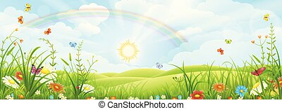 verão, paisagem, arco íris