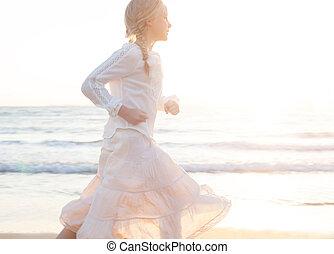 verão, pequeno, ensolarado, holiday., mar, menina, praia
