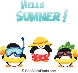 verão, pingüins