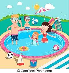 verão, pool., férias familiar, crianças, pais, divertimento, sorrindo, natação, tendo, feliz