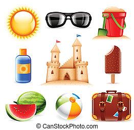 verão, praia, relatado, ícones