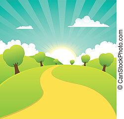 verão, primavera, rural, estações, ou, paisagem