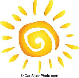 verão, quentes, abstratos, sol