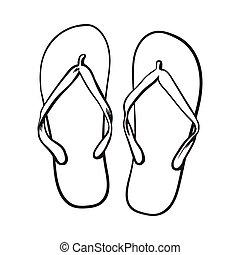 verão, sapatos, atributo, chinelos, inverter, férias, fracassos, tempo, par