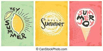 verão, seleção, arte, decorado, linha, bandeiras