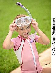 verão, snorkel, óculos proteção, menina, bonito