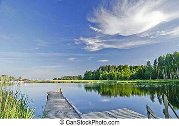 verão, vívido, céu, lago, pacata, sob