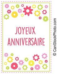 verão, versão, 10, texto, esboçado, saudação, francês, cores, vetorial, aniversário, flores, cartão, feliz