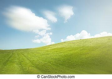 verde azul, céu, colinas