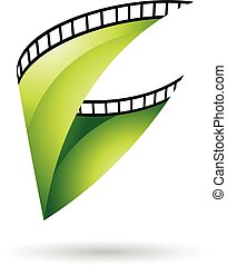 verde, bobina, lustroso, película, ícone