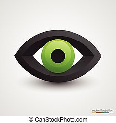 verde branco, olho, tridimensional, fundo