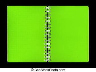 verde, caderno, cobertura, fundo, pretas