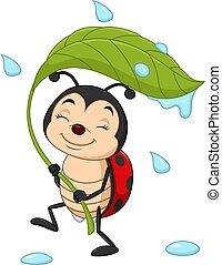 verde, caricatura, segurando, folha, ladybug