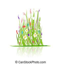verde, desenho, prado, seu