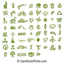 verde, ecologia, desenho, seu, ícones