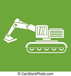 verde, escavador, ícone