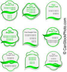 verde, etiquetas, jogo