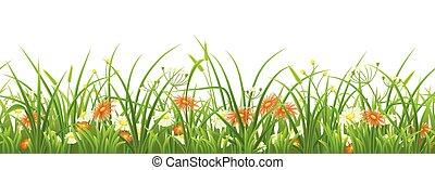 verde, flores, capim, seamless