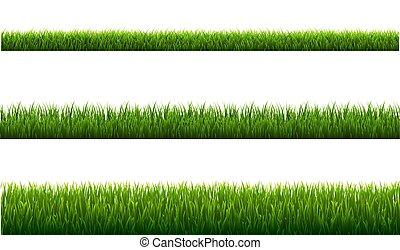 verde, fronteiras, fundo branco, jogo, capim