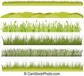 verde, fronteiras, vetorial, capim, jogo