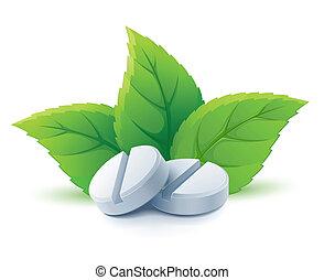 verde, médico, natural, folhas, pílulas