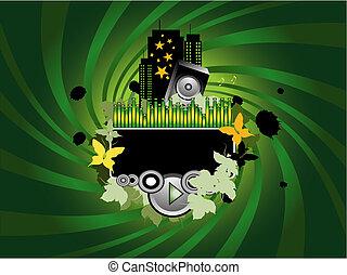 verde, música, fundo