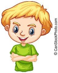 verde, menino, feliz, camisa