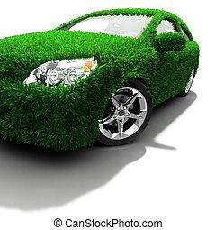 verde, metáfora, eco-amigável, car