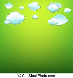verde, nuvens, fundo