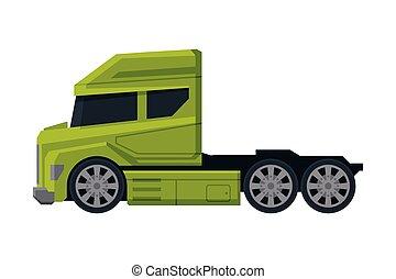 verde, vista, modernos, caminhão, apartamento, semi, entrega, lado, vetorial, carga, ilustração, branca, veículo, fundo
