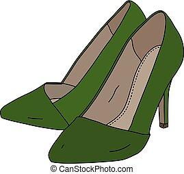 verde, womans, sapatos