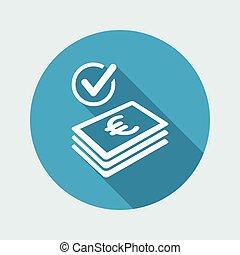 verificar, ícone, -, pagamento, euro