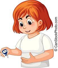 verificar, diabetes, menina, glucose, sangue