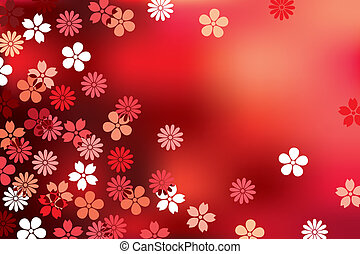 vermelho, abstratos, fundo, flor