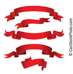 vermelho, bandeiras, (vector)