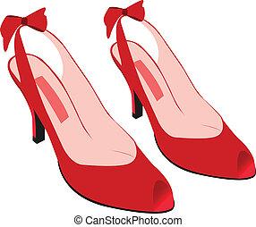 vermelho, calcanhares, alto