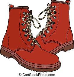 vermelho, couro, botas