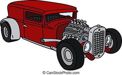 vermelho, hotrod, engraçado