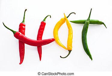 vermelho, pimentão, quentes, fundo, pimenta, verde amarelo, feito, palavra, branca